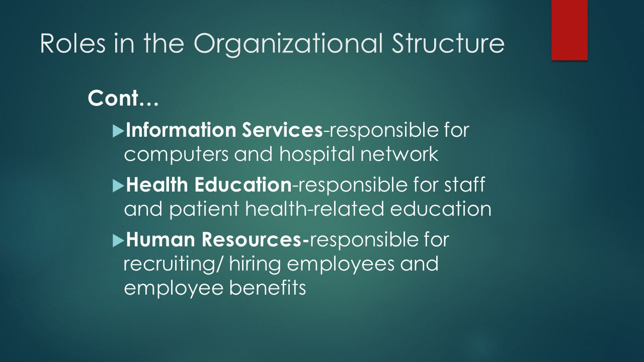 Roles in the Organizational Structure