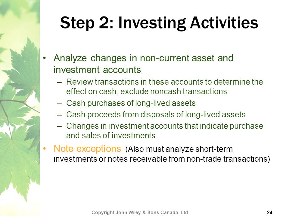 Step 2: Investing Activities