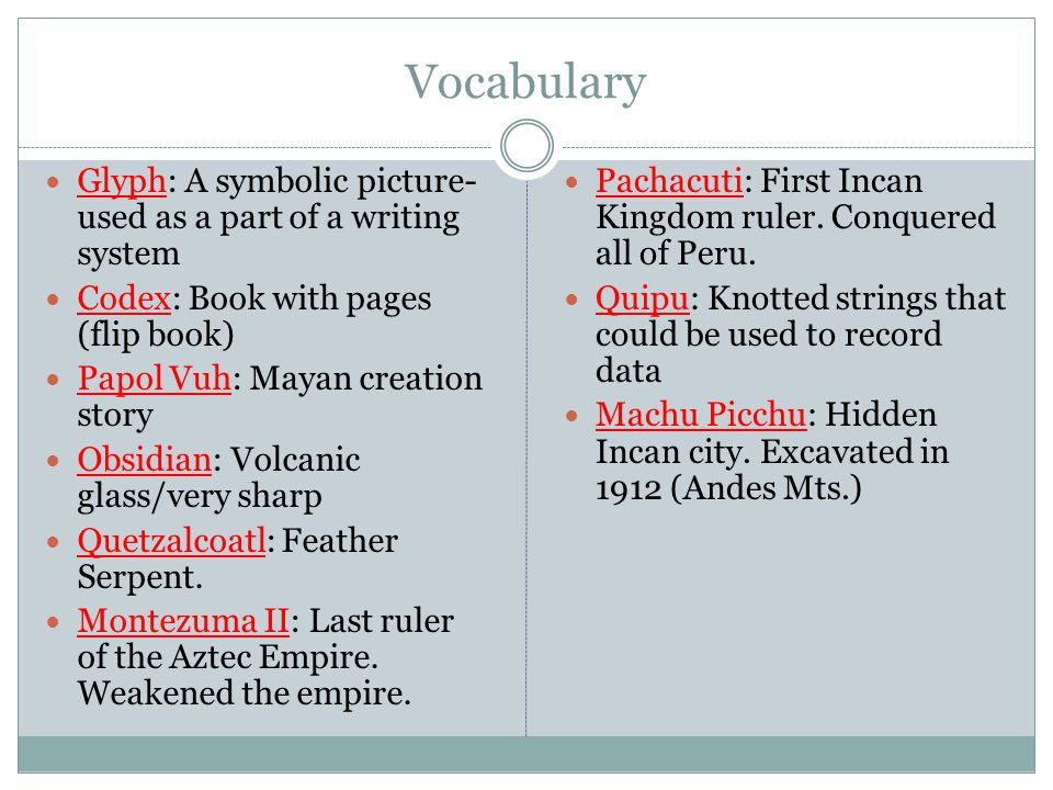 Vocabulary Glyph: A symbolic picture-used as a part of a writing system. Codex: Book with pages (flip book)