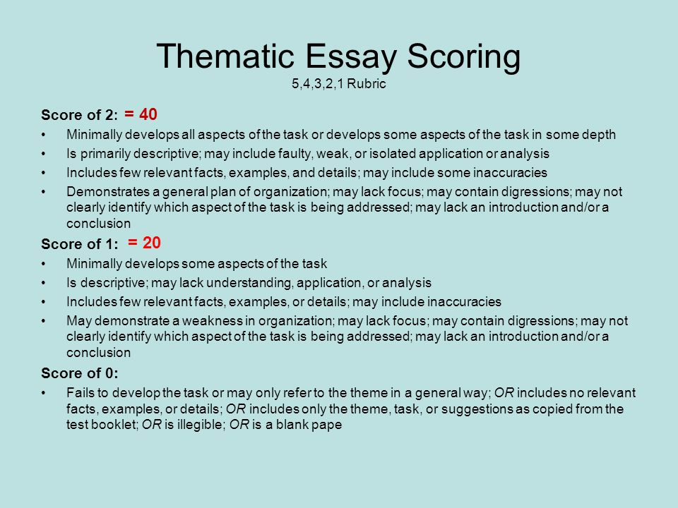 scoring rubric essays Rubric for sample thesis/project proposal name_____ scoring rubric for introduction chapter 1.
