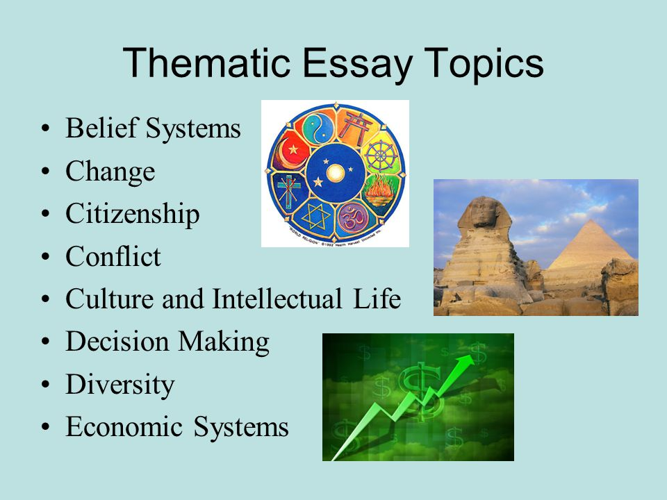 "how to guide for thematic essays"" ppt  thematic essay topics belief systems change citizenship conflict"