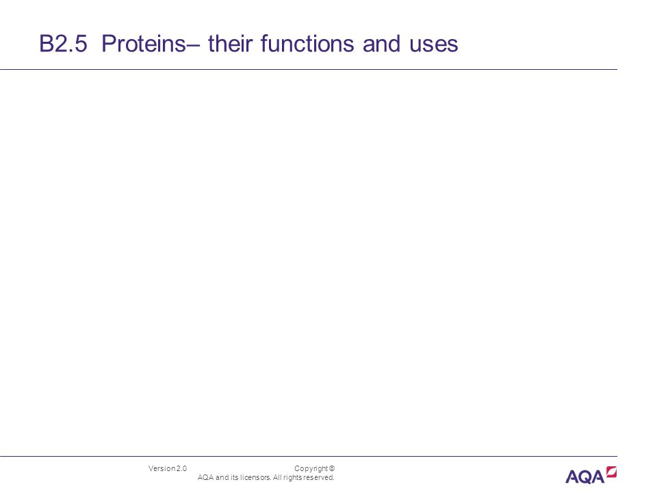 B2.5 Proteins– their functions and uses