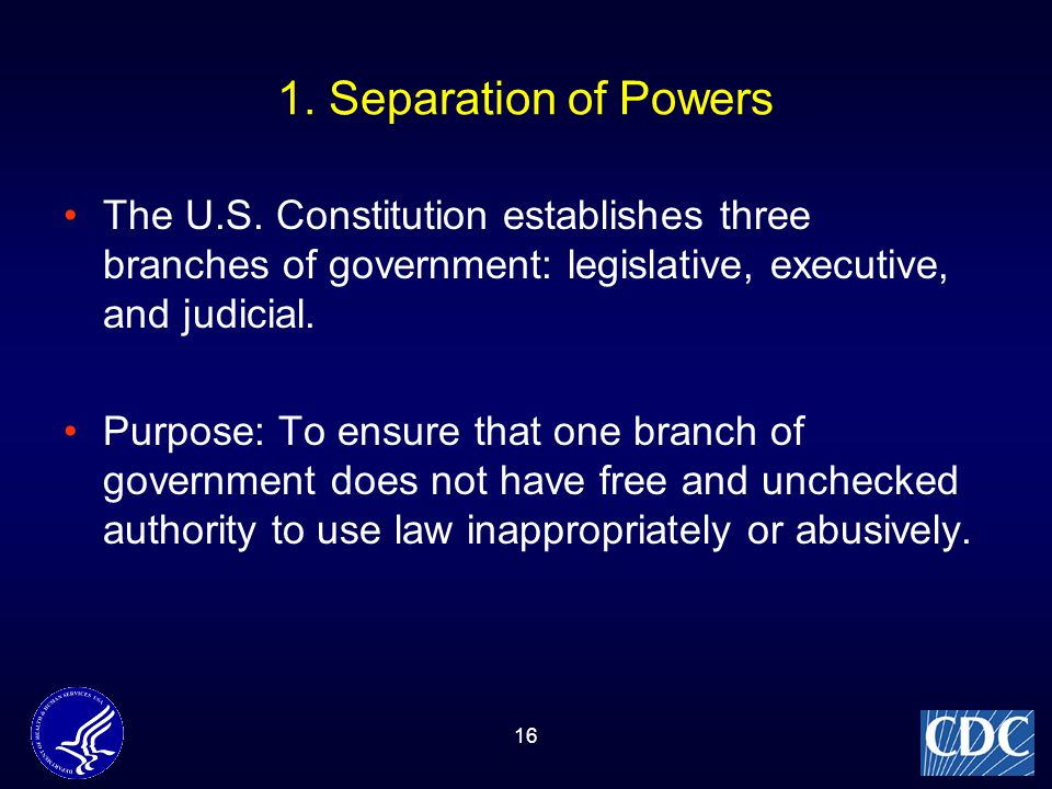 the separation of powers through the legislative executive and judicial branches of government Separation of powers: separation of powers, division of the legislative, executive, and judicial functions of government among separate and independent bodies such a separation, it has been argued, limits the possibility of arbitrary excesses by government, since the sanction of all three branches is required for the.