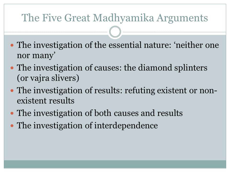 The Five Great Madhyamika Arguments