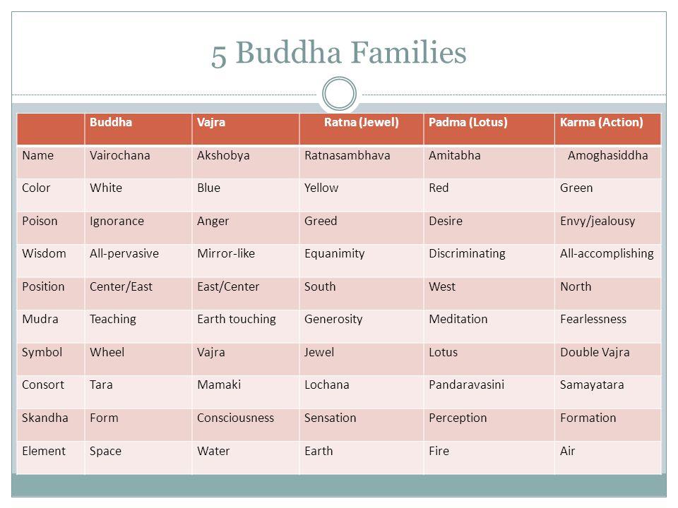 5 Buddha Families Buddha Vajra Ratna (Jewel) Padma (Lotus)
