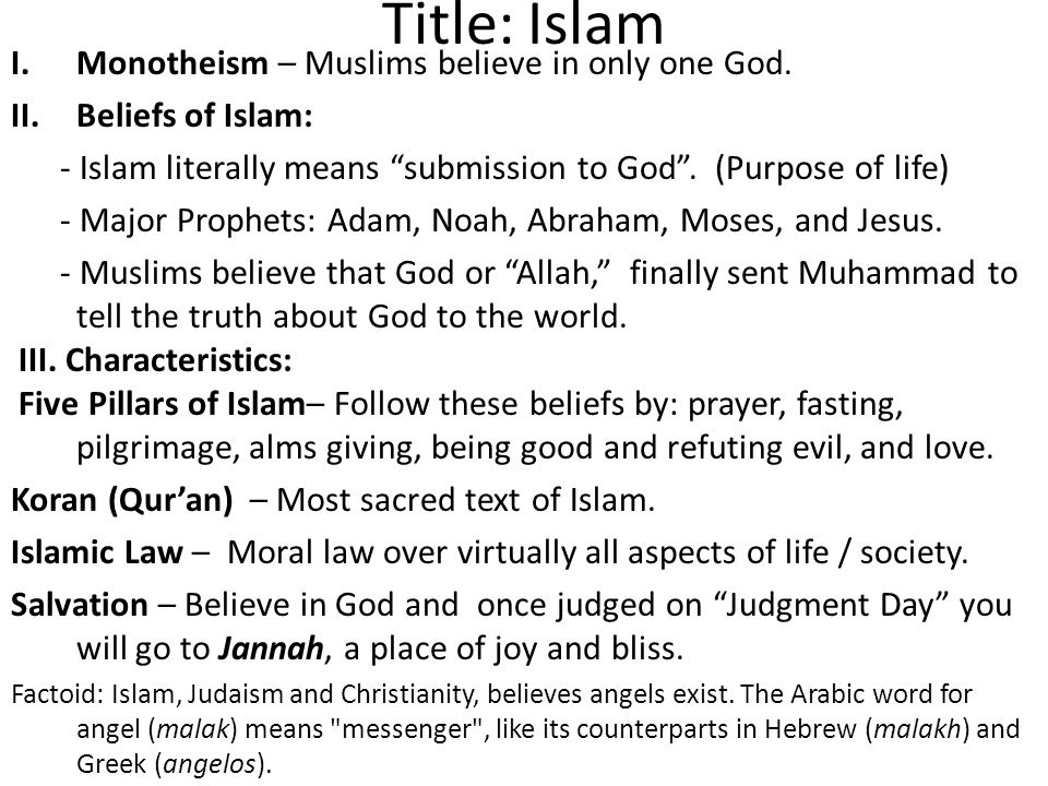 the characteristics of islam a monotheistic religion Though both christianity and islam are abrahamic religions that are mostly or  strictly monotheistic, they differ in many ways, and with well over a billion  followers.