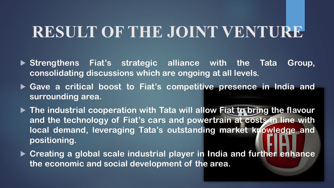 fiat tata alliance essay Tata motor case essay tata's background alliance with fiat in 2005, it has set up an industrial joint venture with fiat group automobiles to produce both fiat and tata cars and fiat powertrains in 2008, tata motors acquired british jaguar land rover.