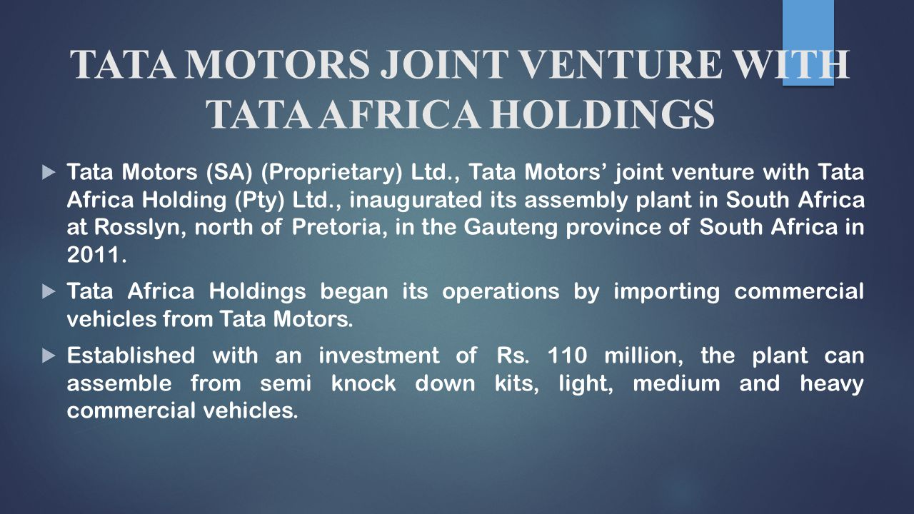 tata motors swot Tata motors ltd a multinational company formerly called telco, is headquartered in mumbai, india it's a biggest revenue company of india and is exclusive for the manufacture of motor vehicles.