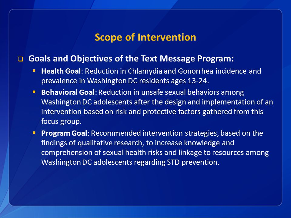 Scope of Intervention Goals and Objectives of the Text Message Program: