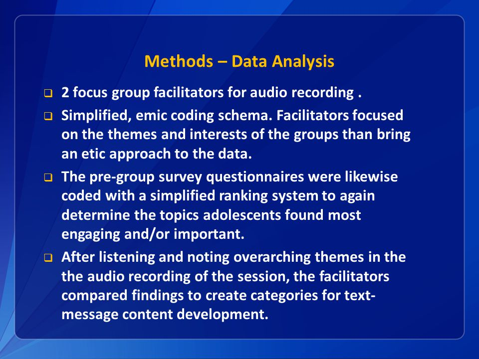 Methods – Data Analysis