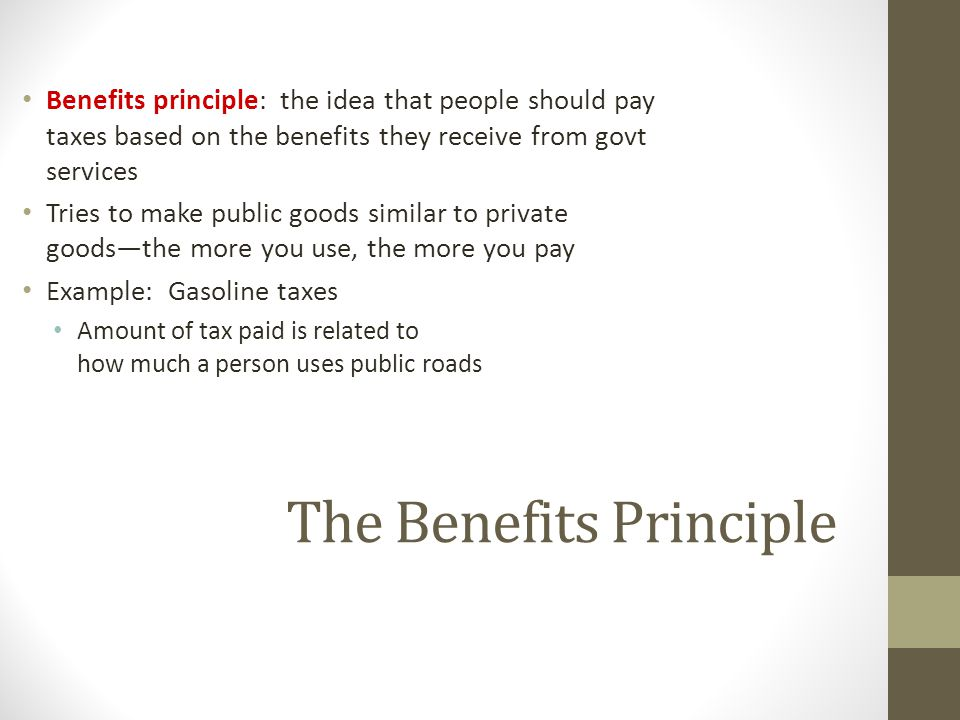 The Benefits Principle