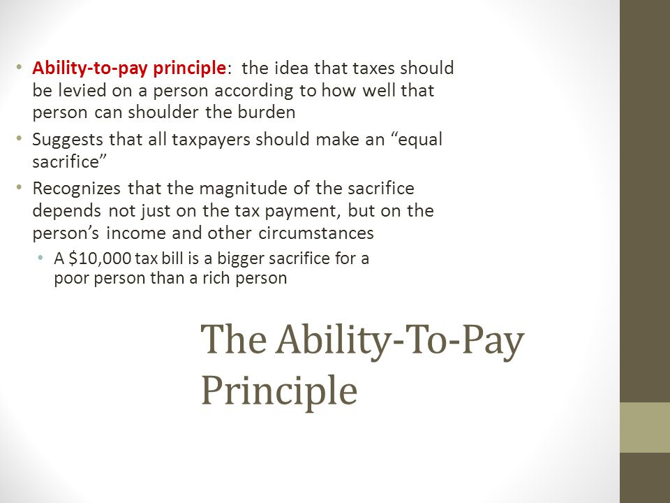 The Ability-To-Pay Principle