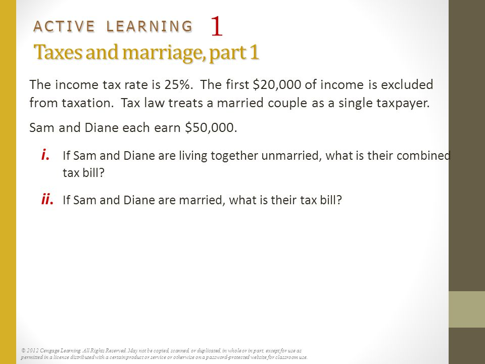 ACTIVE LEARNING 1 Taxes and marriage, part 1