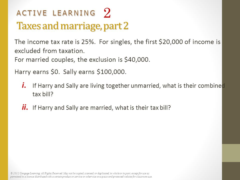 ACTIVE LEARNING 2 Taxes and marriage, part 2