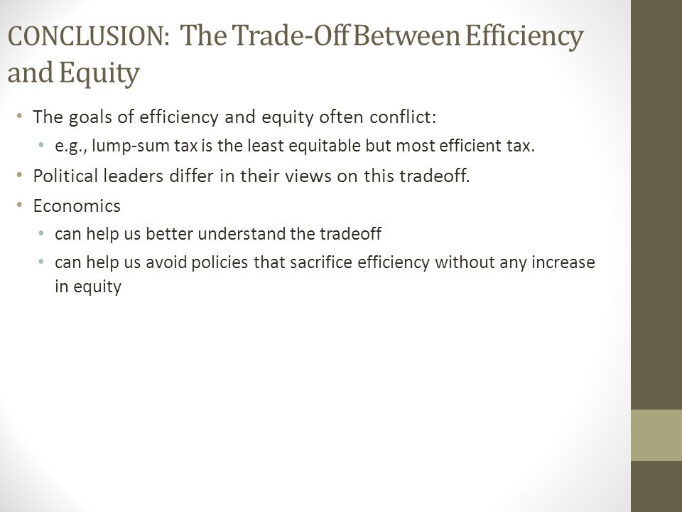 CONCLUSION: The Trade-Off Between Efficiency and Equity
