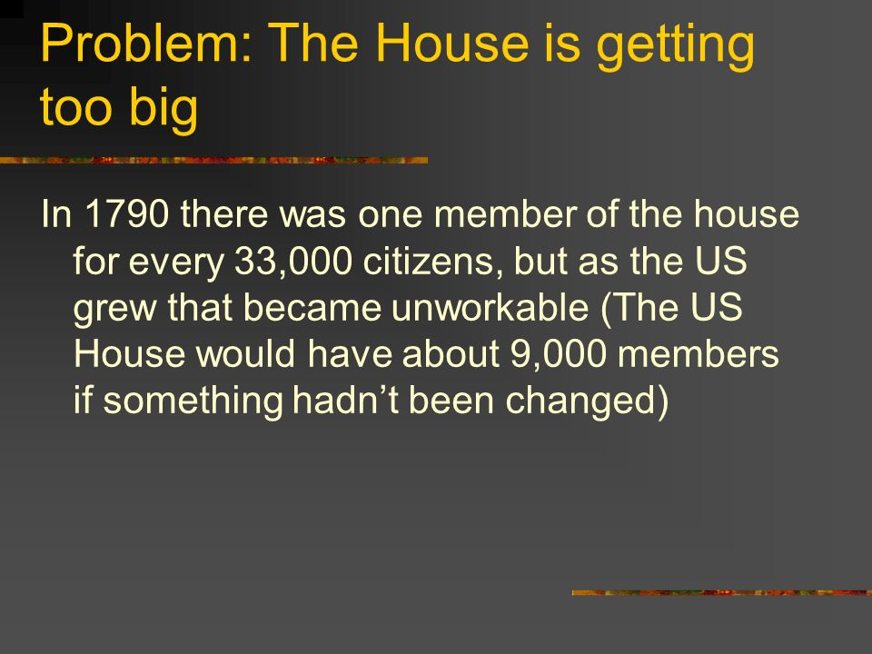 Problem: The House is getting too big