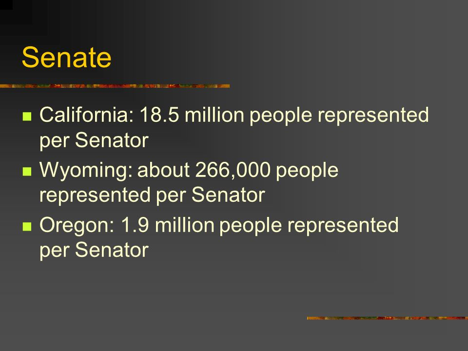 Senate California: 18.5 million people represented per Senator