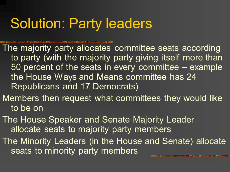 Solution: Party leaders