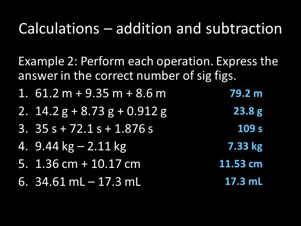Calculations – addition and subtraction