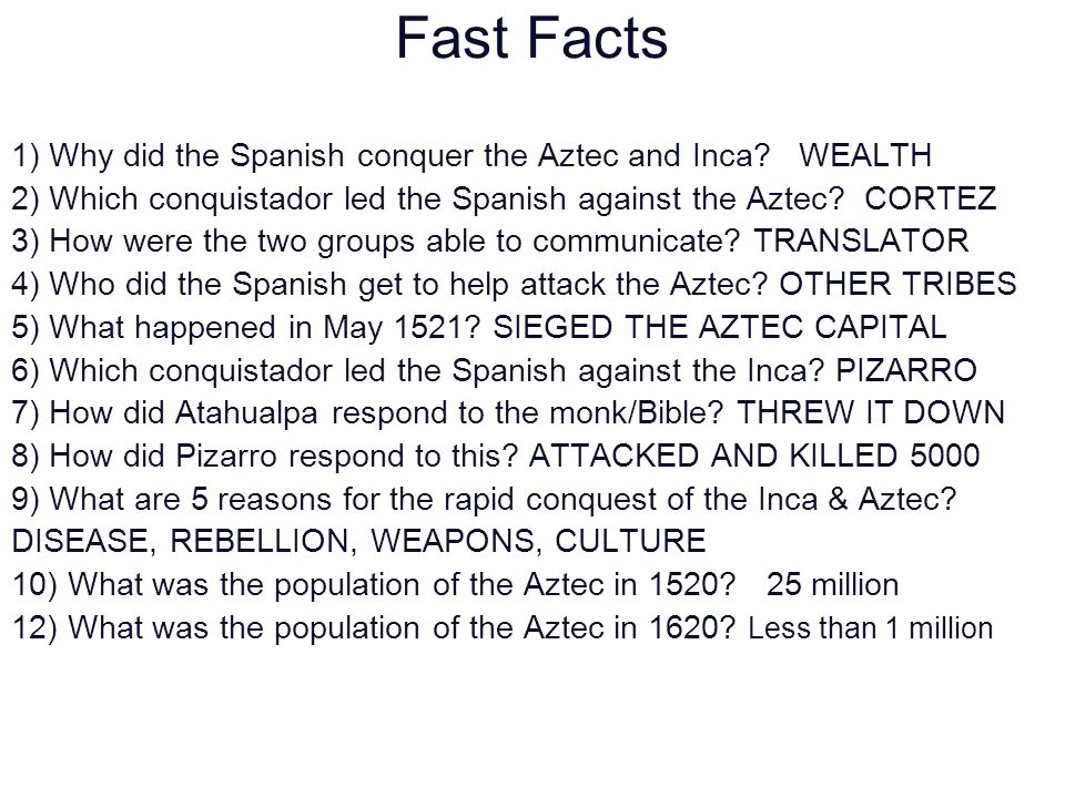 why did the spanish conquer the How did the spanish conquer the aztec the aztec meet the spanish when moctezuma first heard of the spanish landing at veracruz, he sent emissaries with gifts of jewels and fine featherworks.