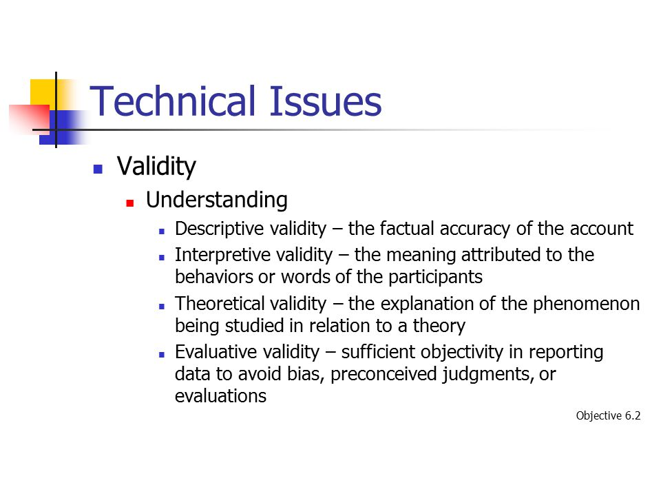 Technical Issues Validity Understanding