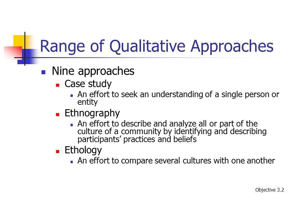Range of Qualitative Approaches