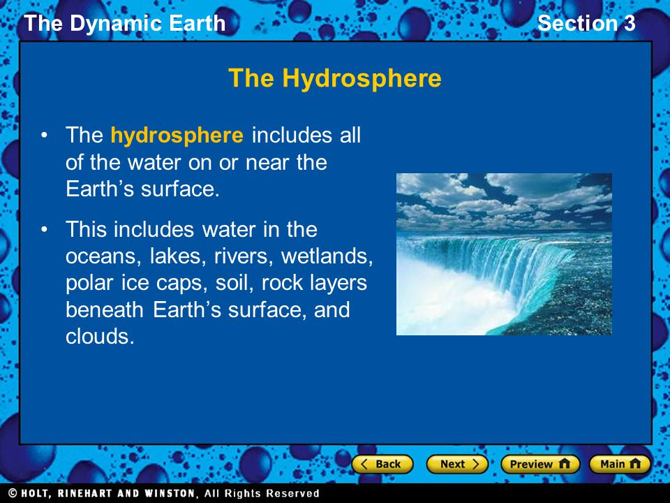 The Hydrosphere The hydrosphere includes all of the water on or near the Earth's surface.