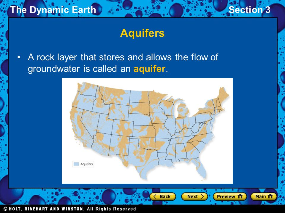 Aquifers A rock layer that stores and allows the flow of groundwater is called an aquifer.