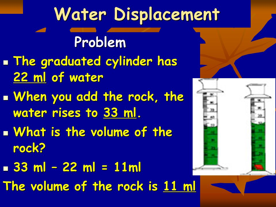 Water Displacement Problem The graduated cylinder has 22 ml of water