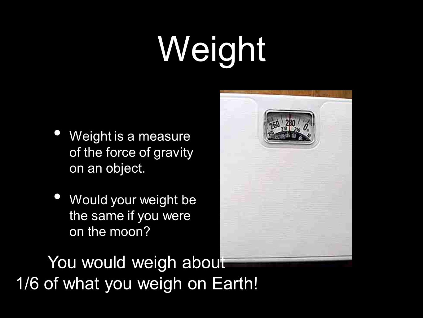 1/6 of what you weigh on Earth!