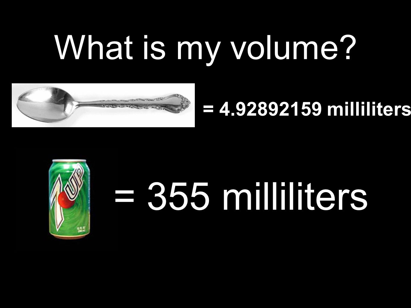 What is my volume = milliliters = 355 milliliters