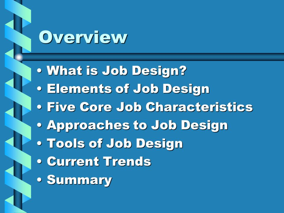 five core characteristics of a good job design The five core job characteristics can be combined to form a motivating potential score (mps) for a job, which can be used as an index of how likely a job is to affect an employee's attitudes and behaviors.