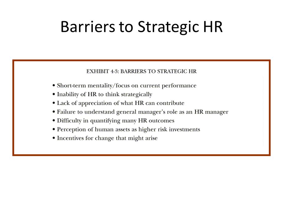 Barriers to Strategic HR