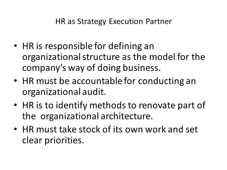 HR as Strategy Execution Partner