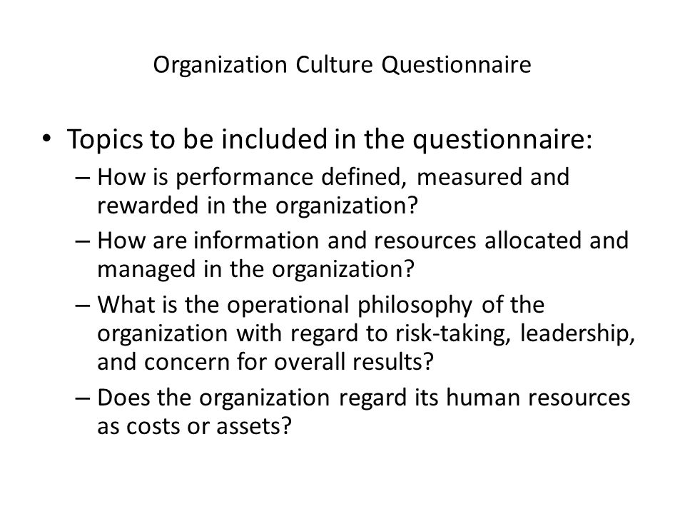 Organization Culture Questionnaire