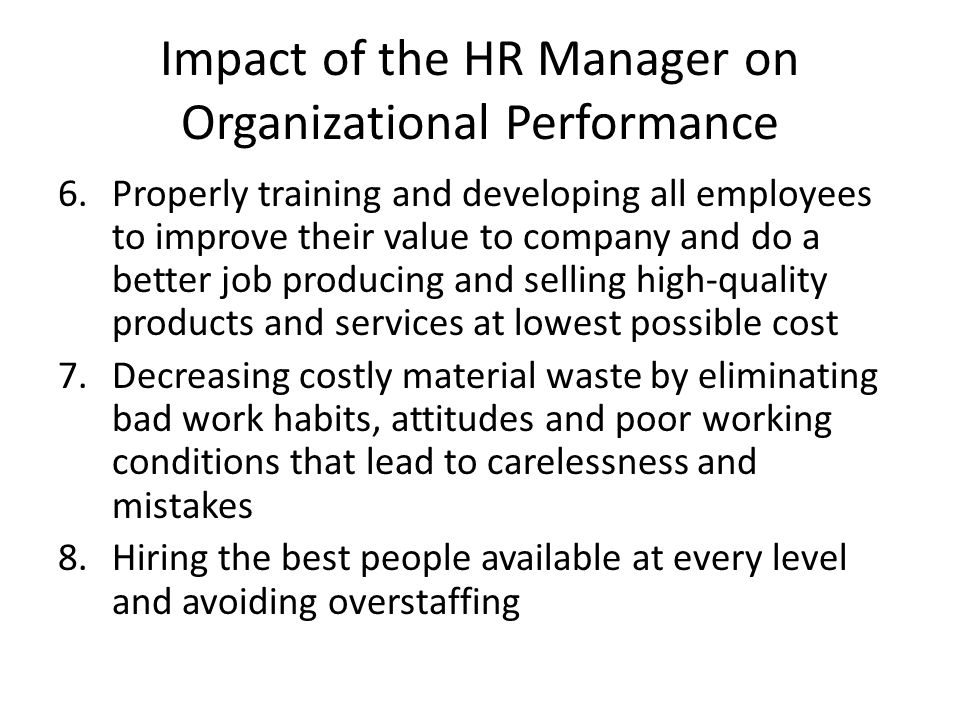 Impact of the HR Manager on Organizational Performance