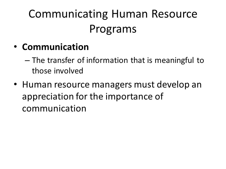 Communicating Human Resource Programs