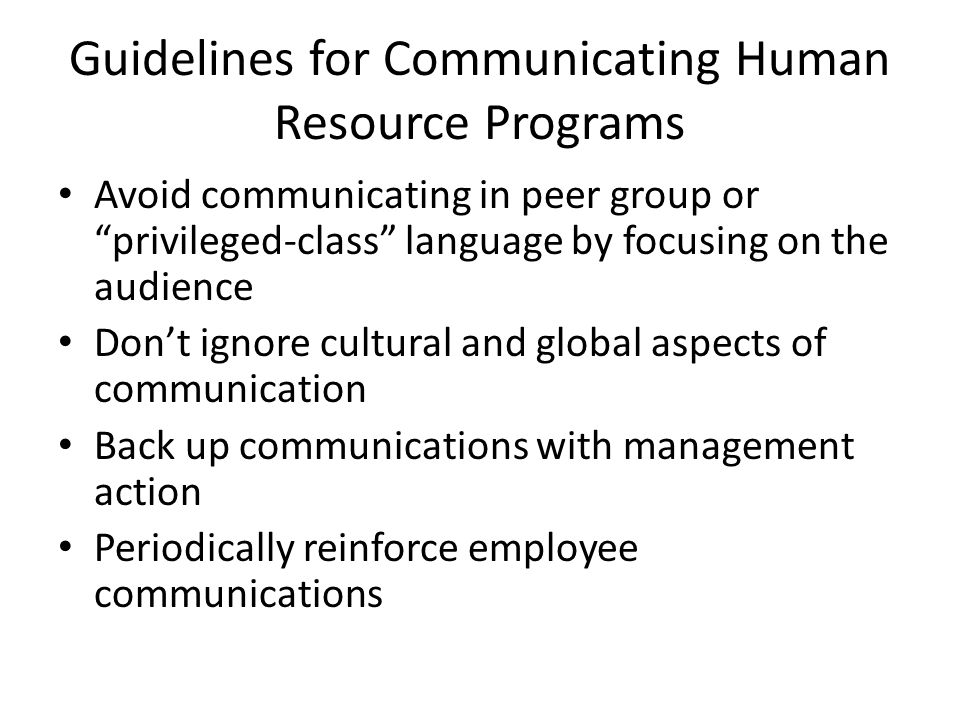 Guidelines for Communicating Human Resource Programs