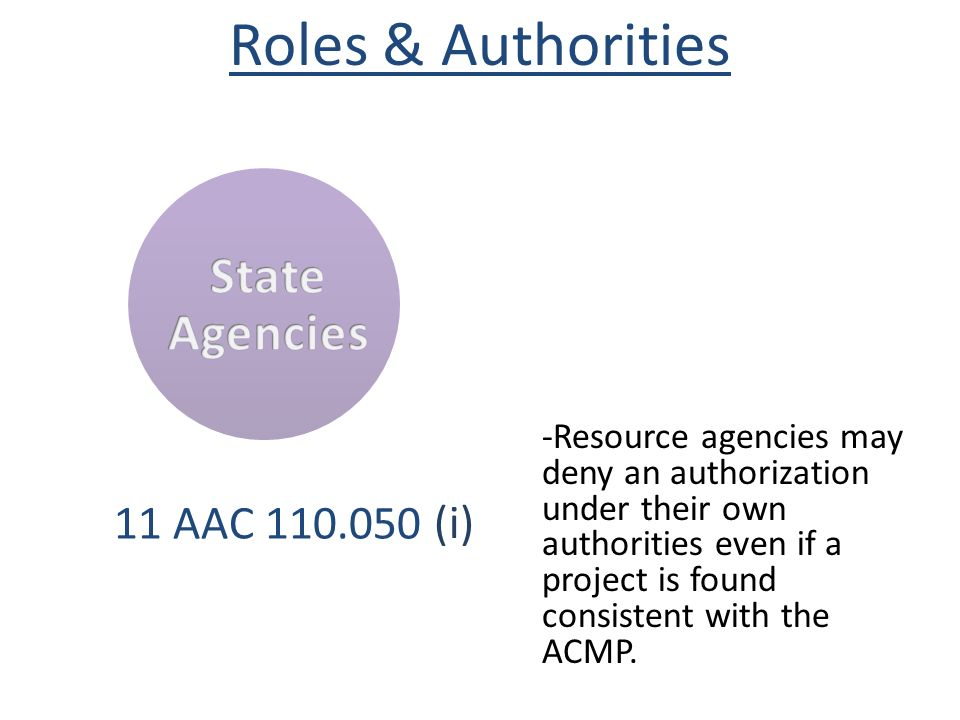 Roles & Authorities State Agencies (i) 11 AAC 110.050