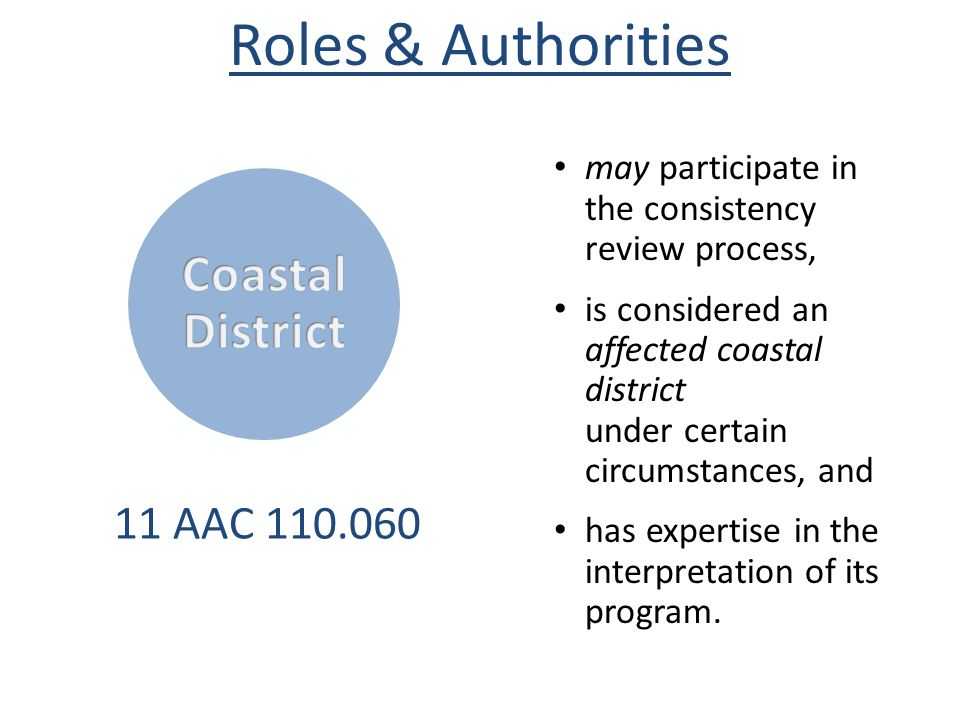 Roles & Authorities CoastalDistrict 11 AAC 110.060