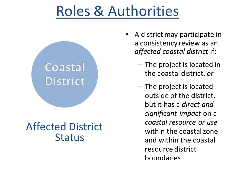 Roles & Authorities CoastalDistrict Affected District Status