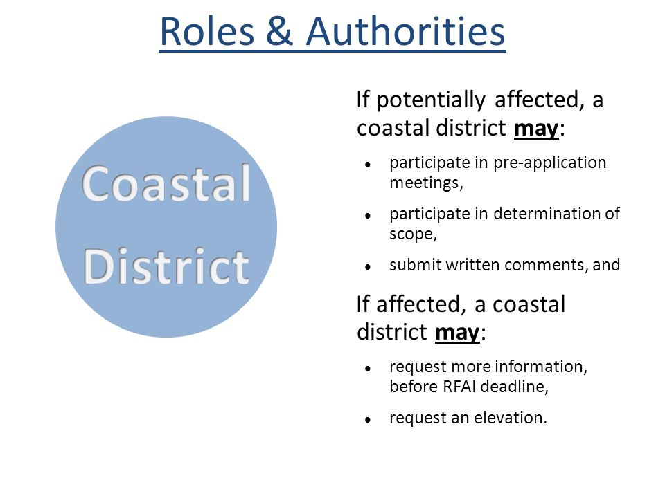 Coastal District Roles & Authorities
