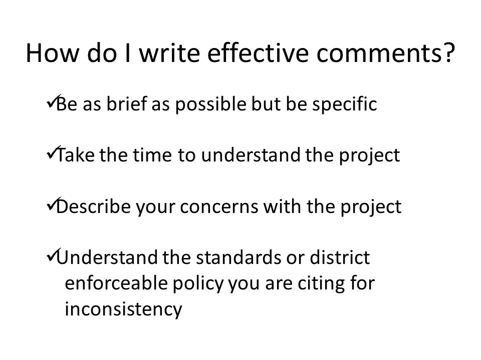 How do I write effective comments