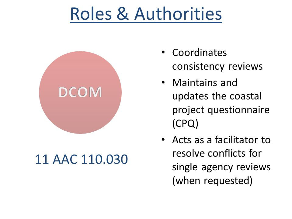 Roles & Authorities DCOM 11 AAC 110.030