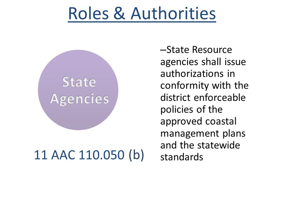 Roles & Authorities State Agencies (b) 11 AAC 110.050