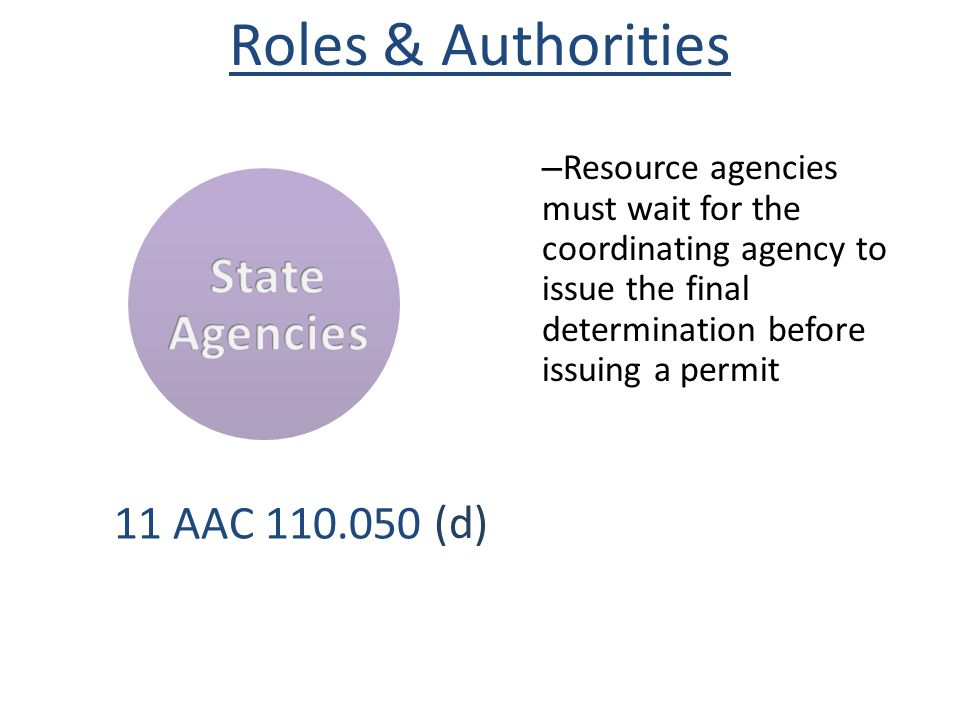 Roles & Authorities State Agencies (d) 11 AAC 110.050