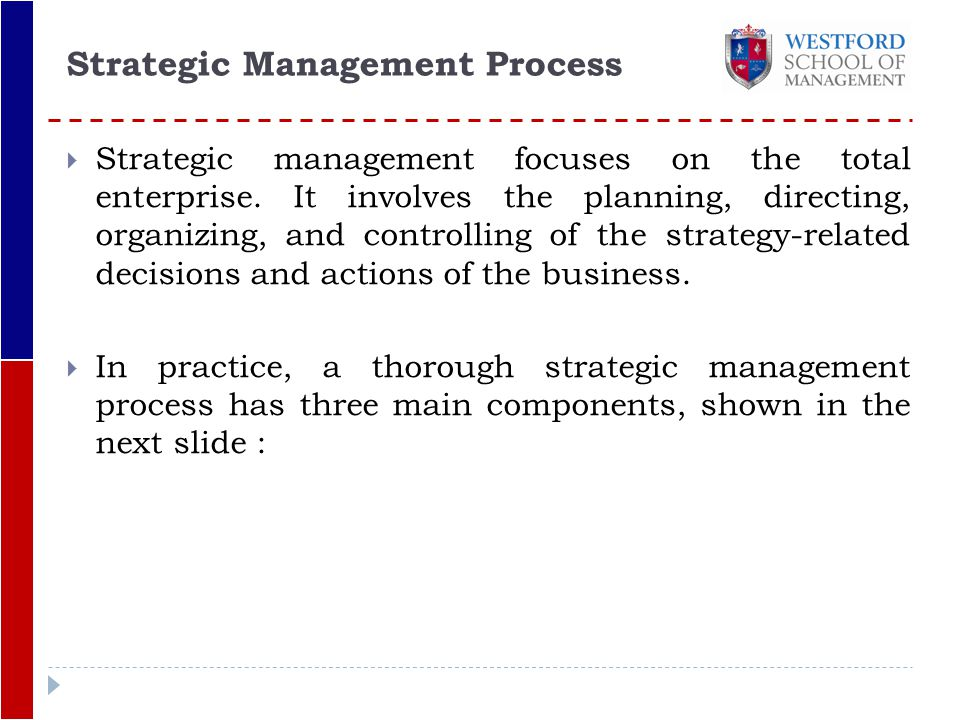 primary components strategic management process essay Describe and define the primary components of the strategic  strategic planning and strategic management essays  of the strategic management process, .