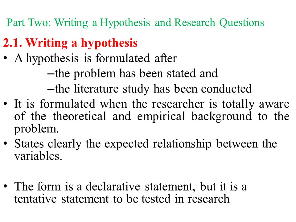 what is the relationship between research questions and a hypothesis
