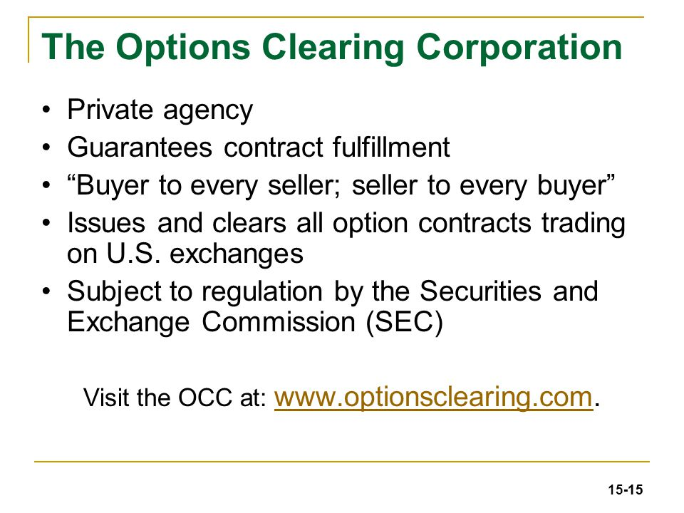 Stock exchange options clearing house