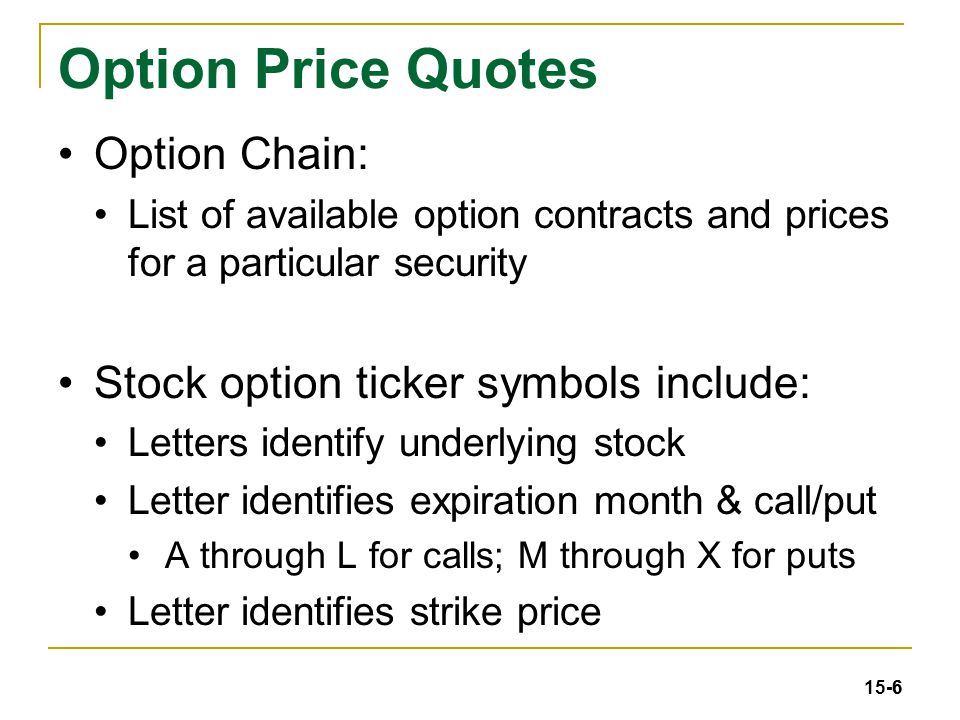 Stock options chain quotes